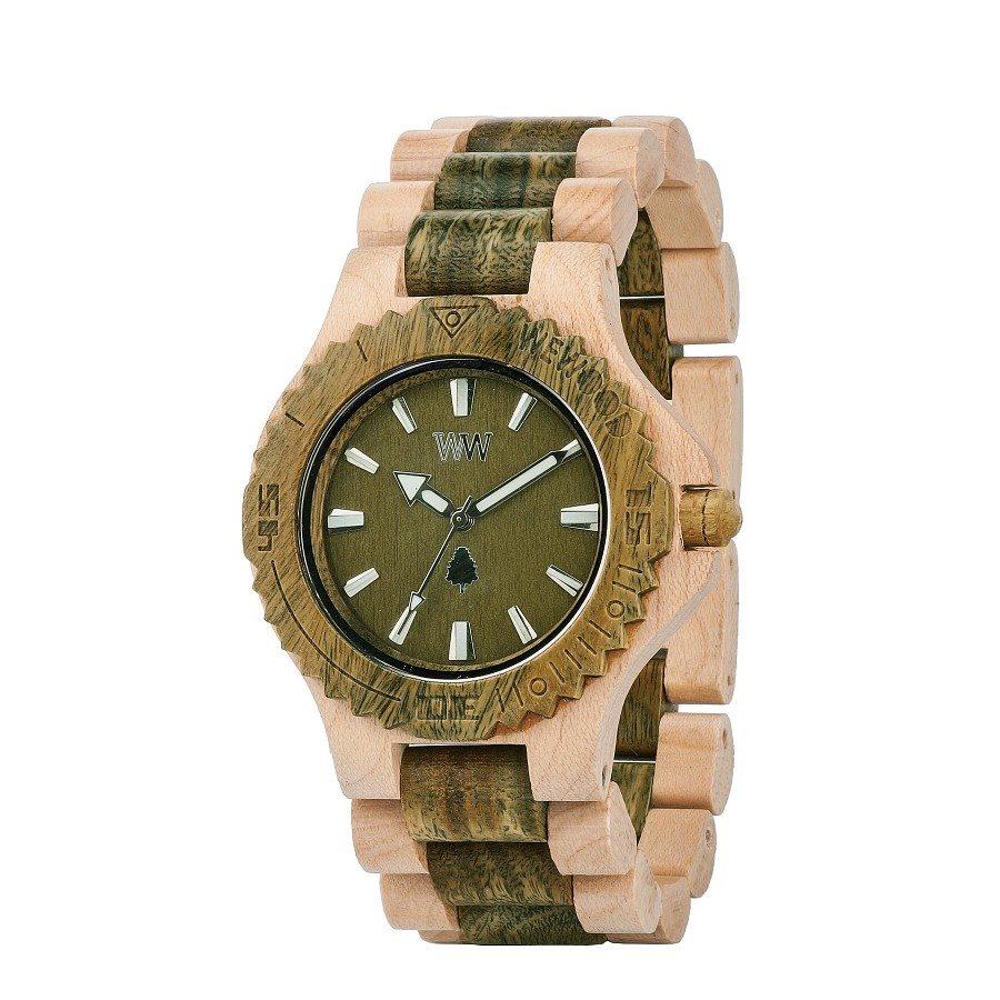 Orologio in legno DATE BEIGE ARMY