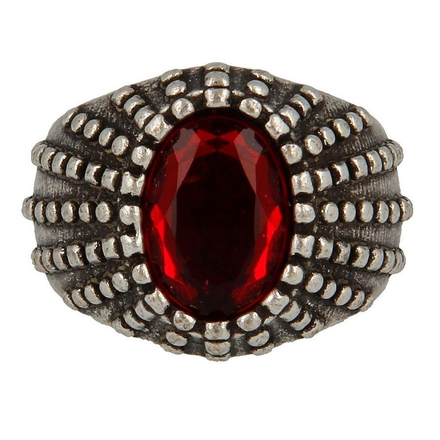 Anello Puntinato Con Pietra Ovale Ruby - taglia L
