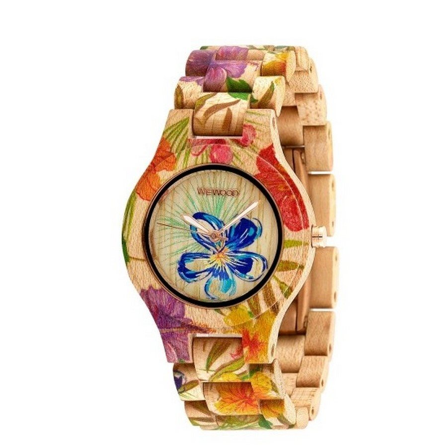 photo ANTEA FLOWER BEIGE Orologio in legno