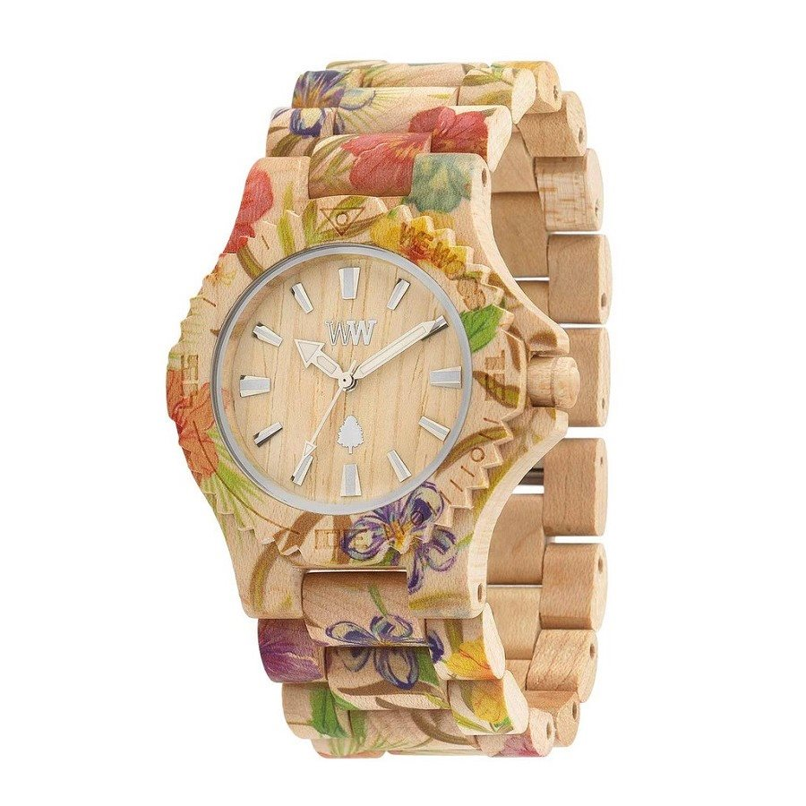 photo DATE FLOWER BEIGE Orologio in legno