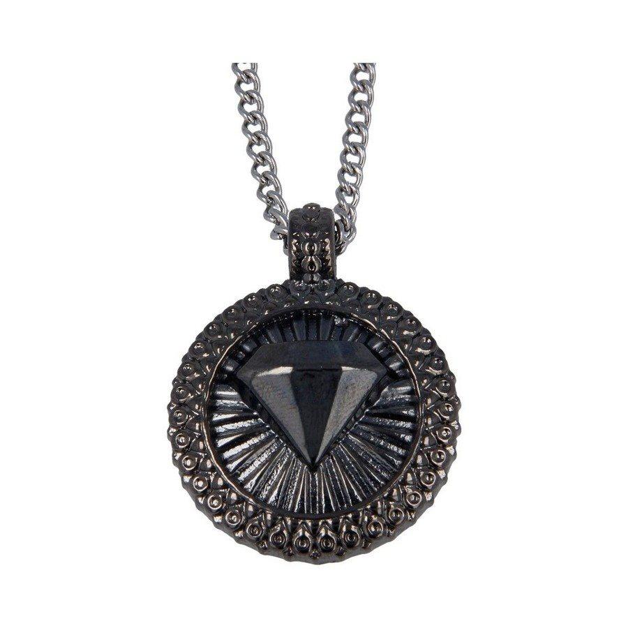 Collana Pendente Diamante Finitura Rutenio