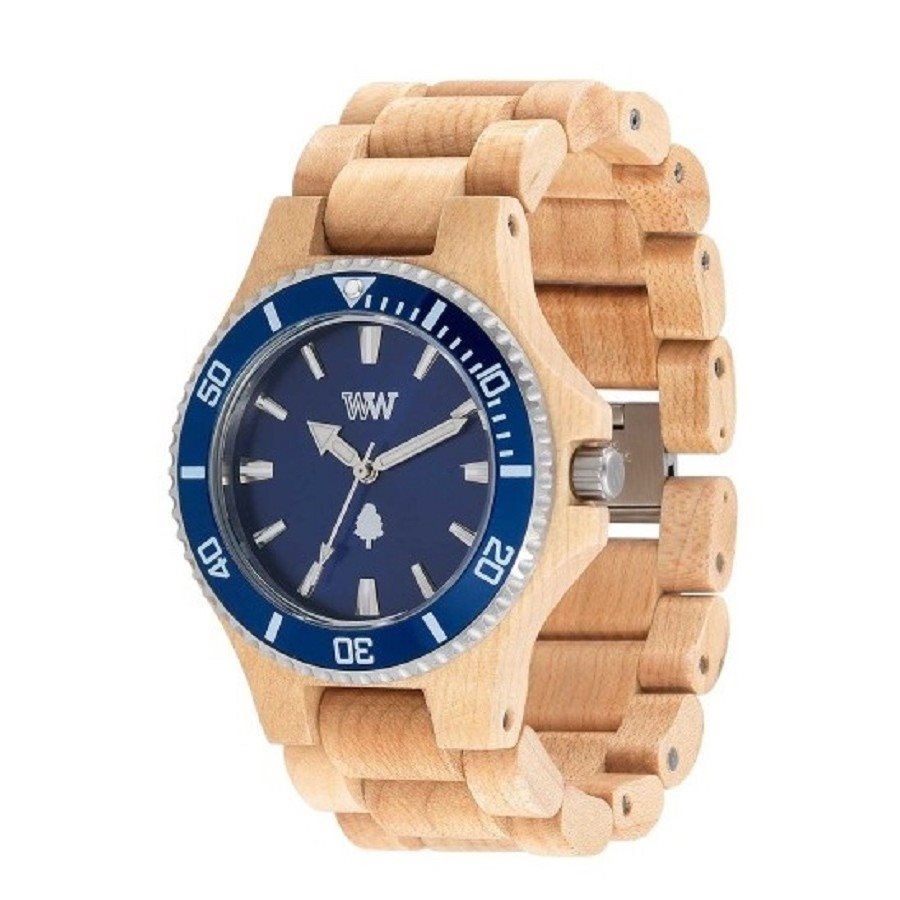 photo DATE MB BEIGE BLUE Orologio in legno