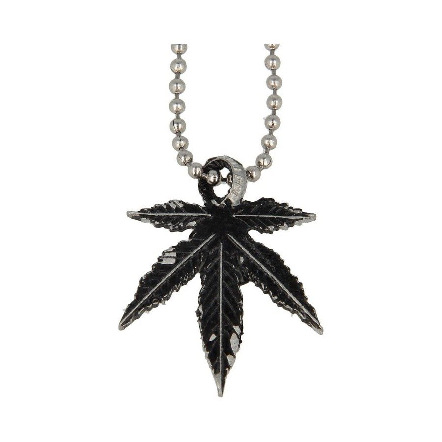 photo Collana Foglia Cannabis Black Vintage