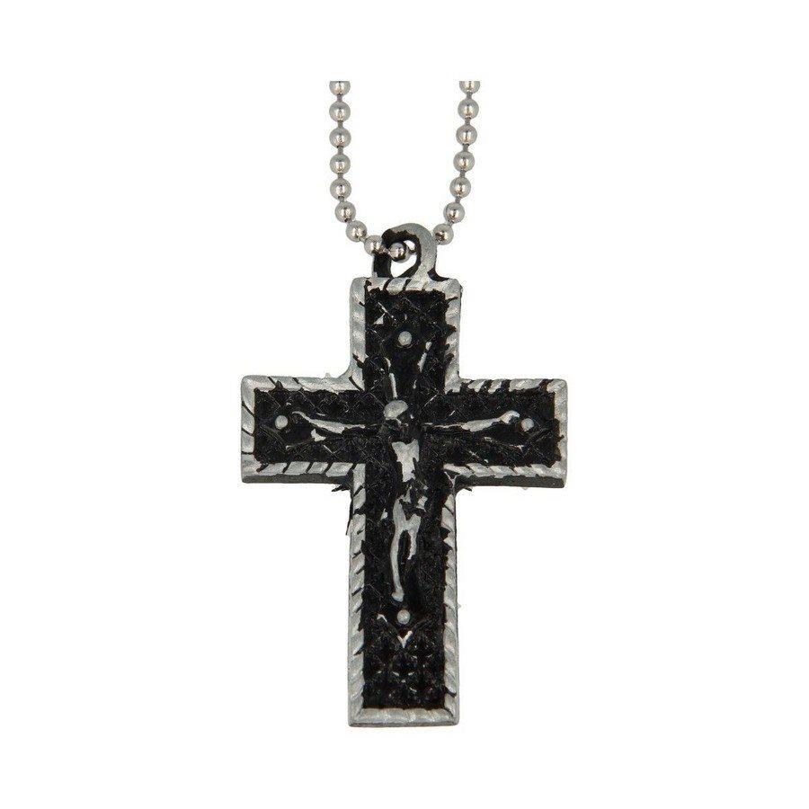 Collana Croce Con Cristo Black Vintage