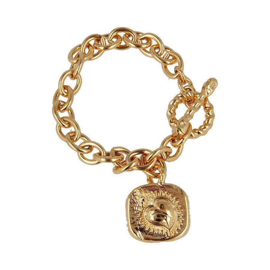 Bracciale T-Bar Piastrina Cuore Sacro Finitura Oro Giallo - Donna