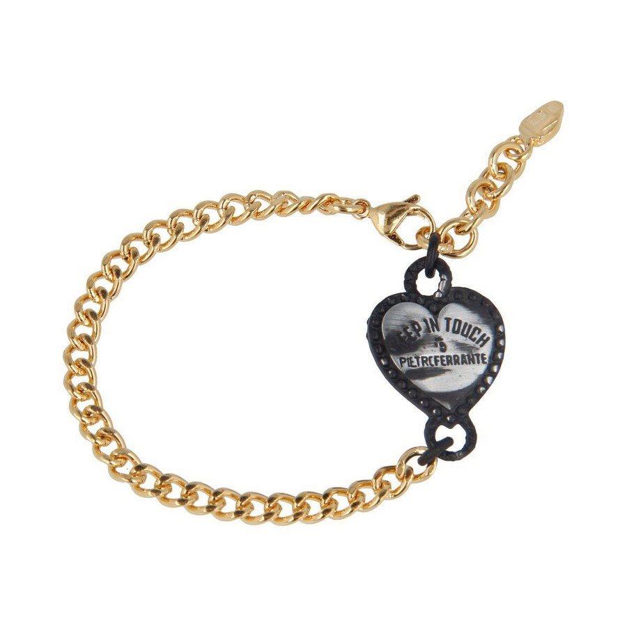 Bracciale Groumette Oro Giallo Cuore Black Vintage - Donna