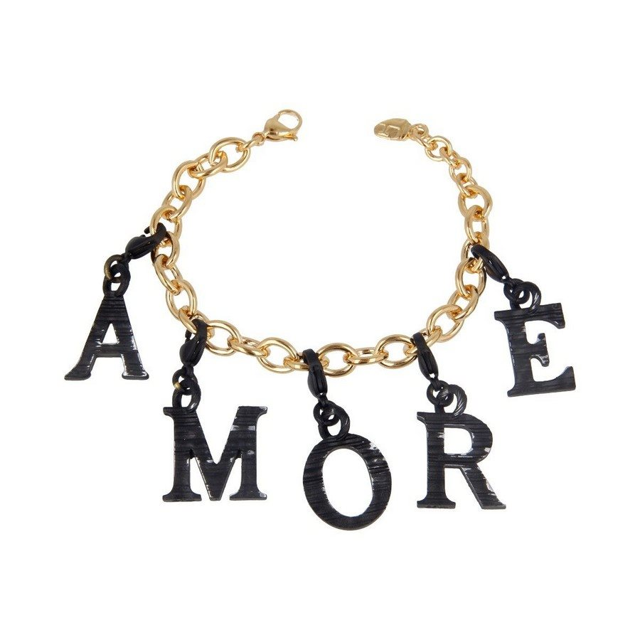 photo Bracciale Mix Oro Giallo Black Vintage Charms Lettere Amore