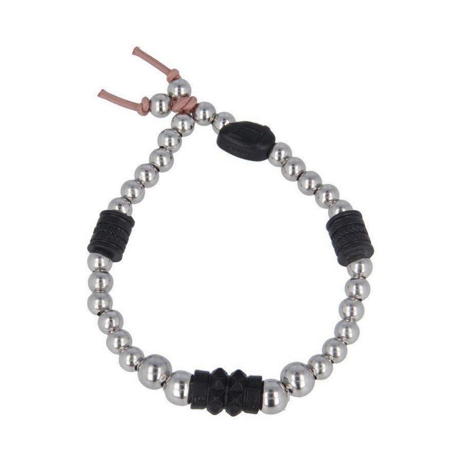 photo Bracciale Pallini Inserti Borchiati In Black Vintage - Uomo