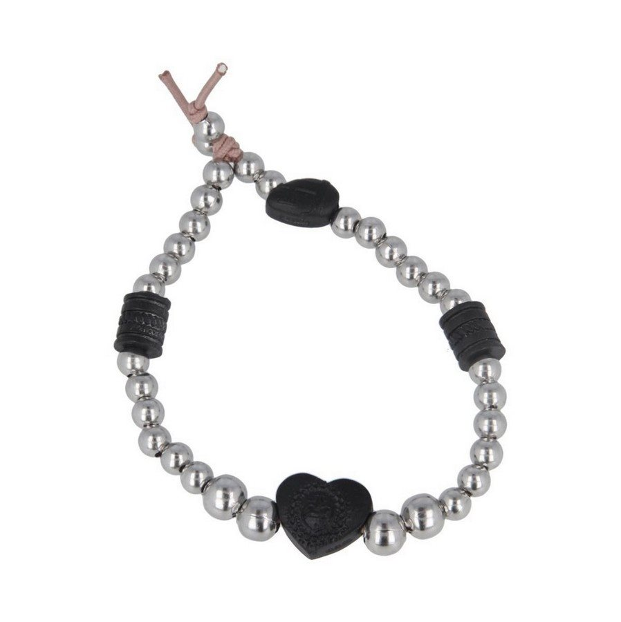 photo Bracciale Pallini Inserti In Black Vintage Cuore Sacro - Donna