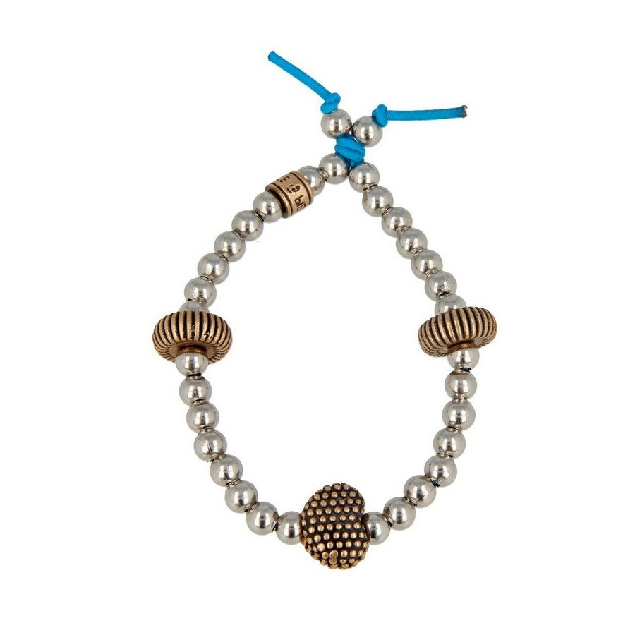 photo Bracciale Pallini Inserti In Bronzo E Cuore Borchiato - Donna