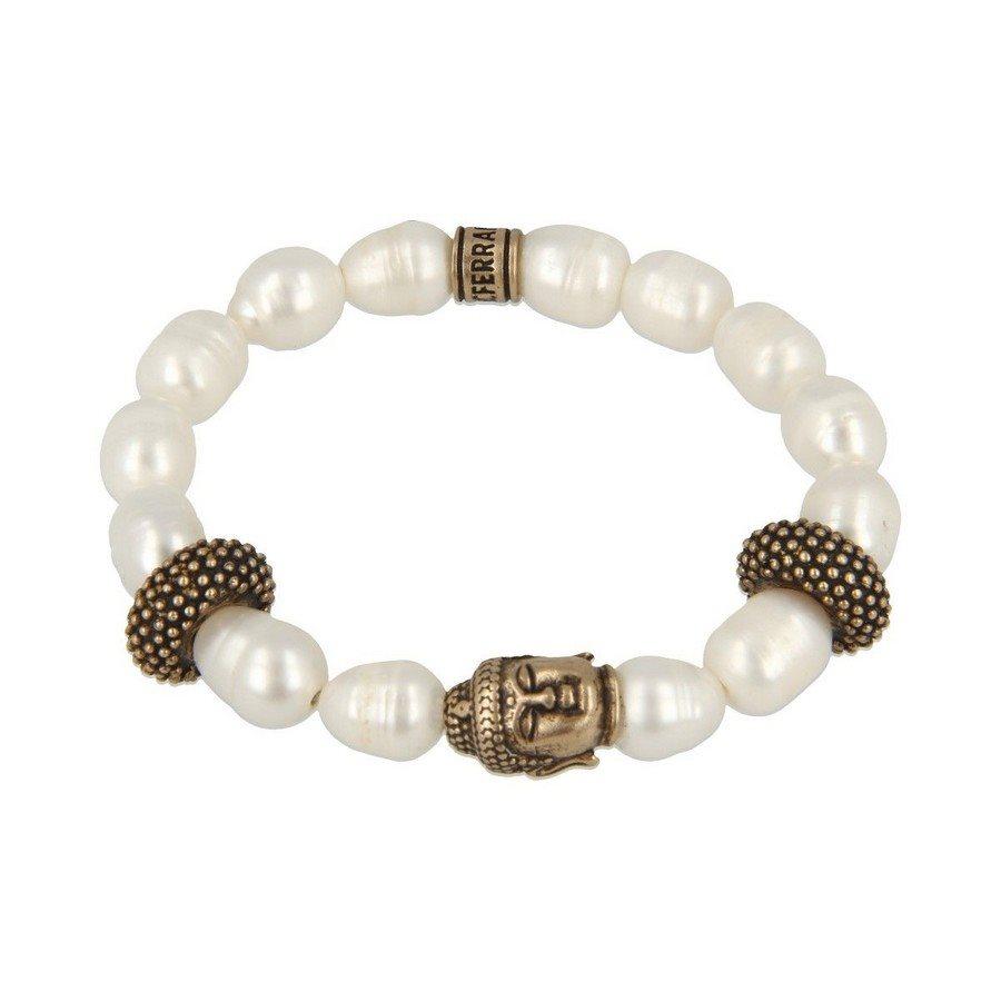 Bracciale Perla Barocca Buddha E Inserti Borchiati - Uomo