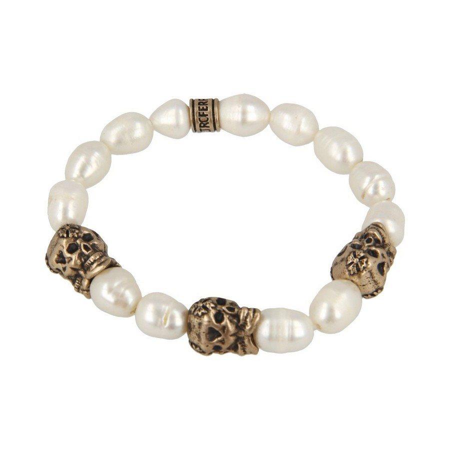 Bracciale Perla Barocca Tre Teschi - Donna