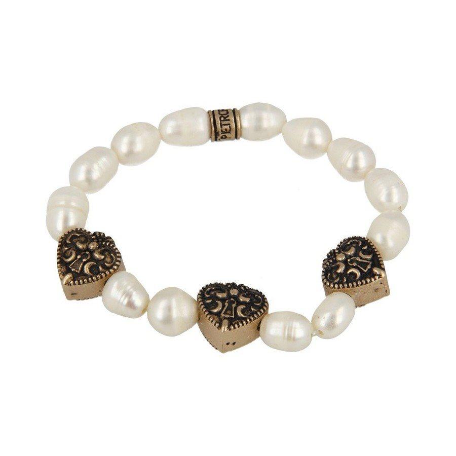 Bracciale Perla Barocca Tre Cuori Con Serratura - Donna