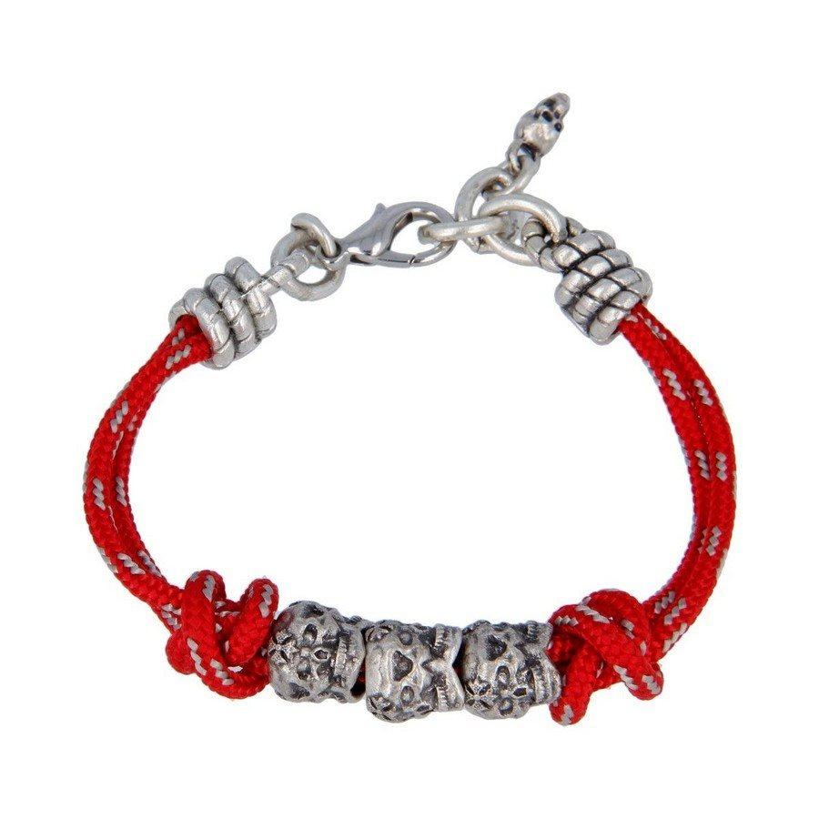 Bracciale Corda Rosso Teschi Tridimensionali - Donna