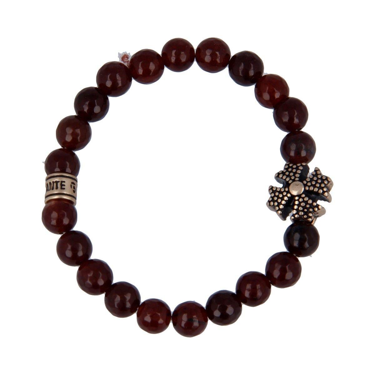 Bracciale Emozionale Agata Rossa Inserto Croce di Malta - Donna