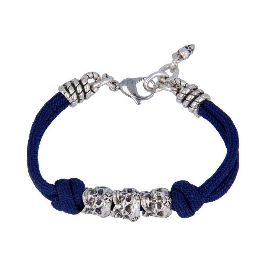 Bracciale Corda Blu Notte Teschi Tridimensionali - Donna