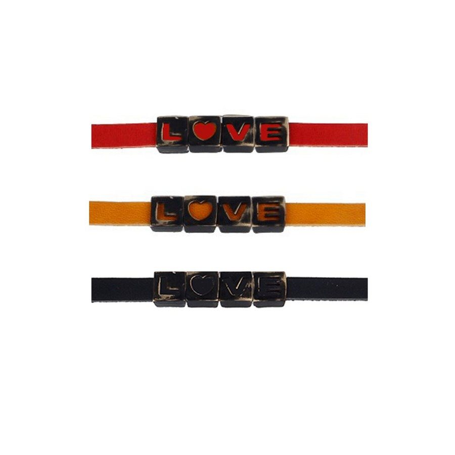 photo Bracciale Pelle Type Love Black Vintage Nero - Uomo