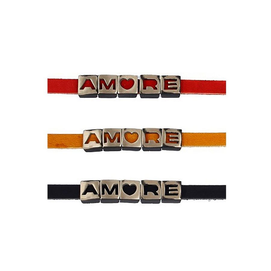 photo Bracciale Pelle Type Amore Black Vintage Rosso - Donna