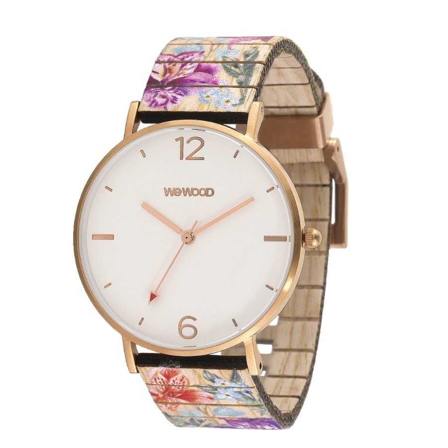 photo AURORA FLOWER BEIGE Orologio in legno