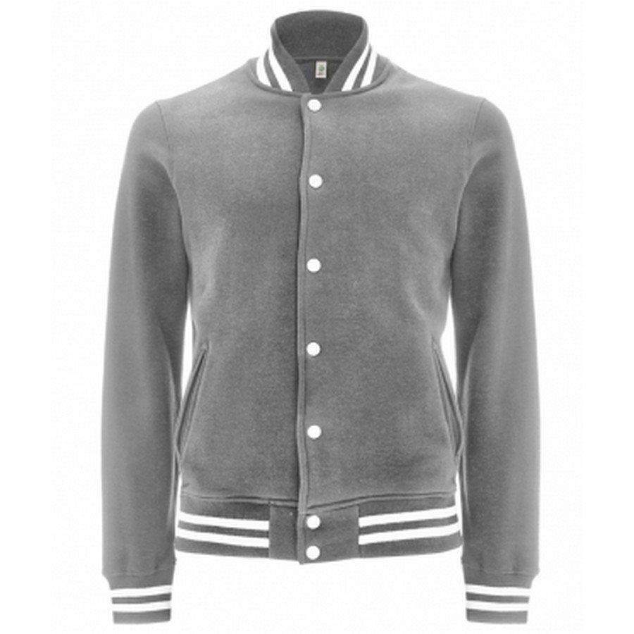 Felpa Varsity Jacket Melange Grey/White Stripes  - Taglia L