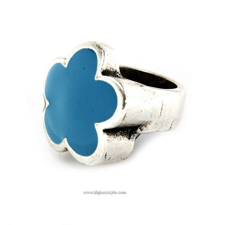 Anello in zama fiore azzurro - Taglia xl