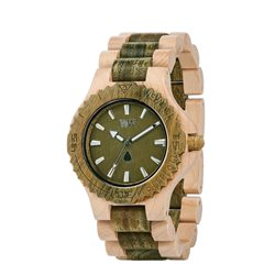 WeWOOD Orologio in legno DATE BEIGE ARMY