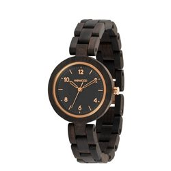DAPHNE BLACK ROUGH ROSE Orologio in legno