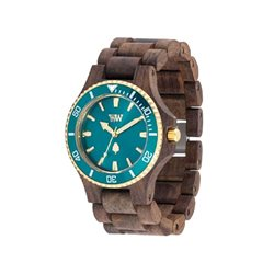 DATE MB CHOCO ROUGH EMERALD Orologio in legno