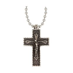 Collana Pendente Croce Decorata Con Cristo