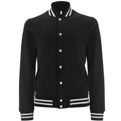 Continental Clothing Felpa Varsity Jacket Black/White Stripes