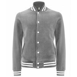 Continental Clothing Felpa Varsity Jacket Melange Grey/White Stripes