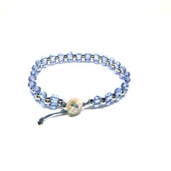 Bracciale perline turchese - Bottone madre perla
