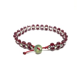 Bracciale perline bordeaux - Bottone madre perla