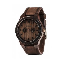 LEO LEATHER CHOCO Orologio in legno