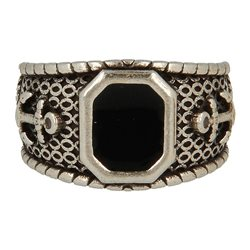 Ring 23 Anello Polished Black Stone - taglia M