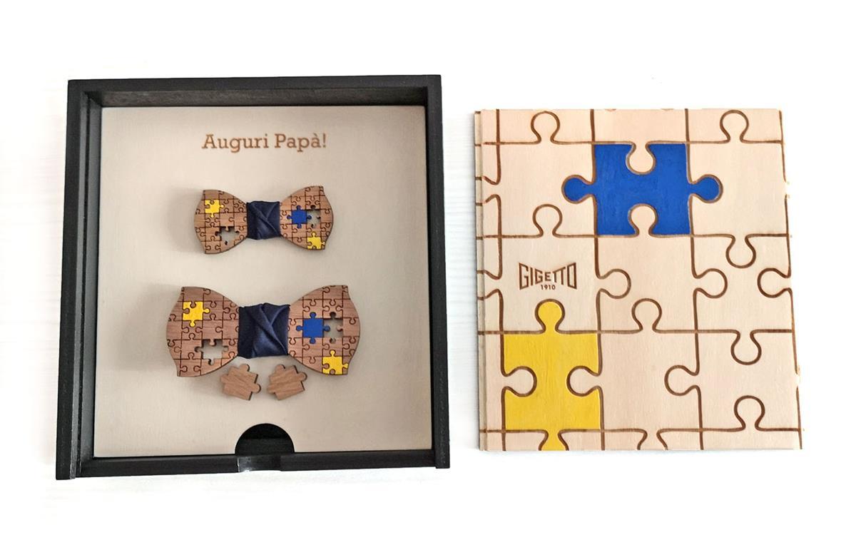 Papillon in legno di rovere, adulto-bambino, puzzle, nodo blu notte